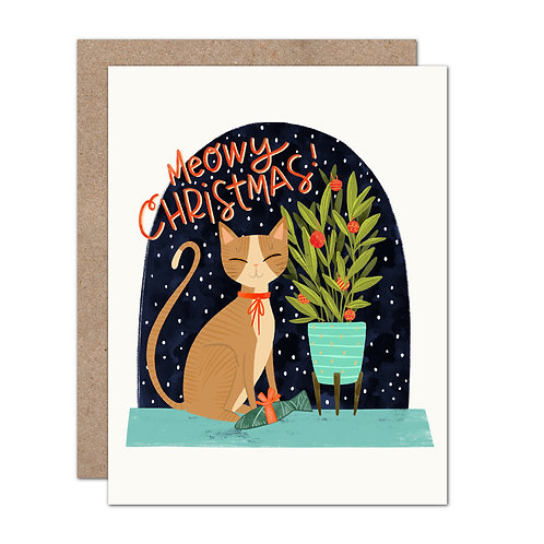 Meowy Christmas Cat Holiday Card
