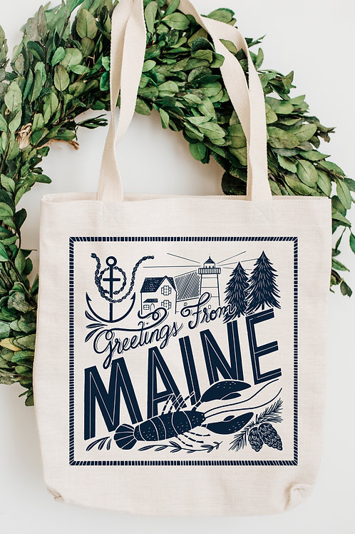 Greetings From Maine Canvas Tote