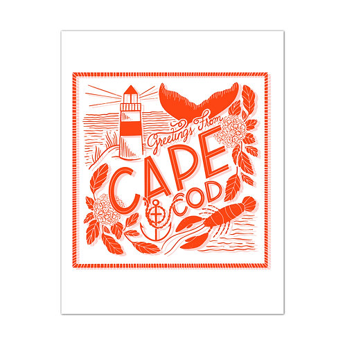 Greetings From Cape Cod Red Art Print