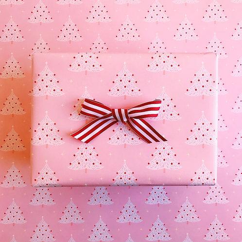 Pink Christmas Tree Gift Wrap