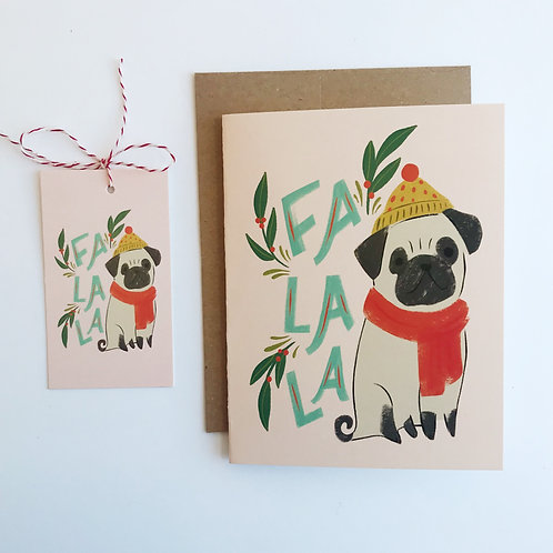 Fa La La Pug - Gift Tags - Set of 8
