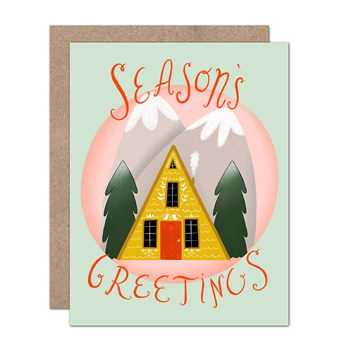 Season's Greetings A-Frame Holiday Card - Set of 6