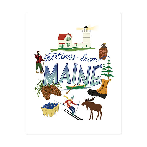 Greetings From Maine Art Print