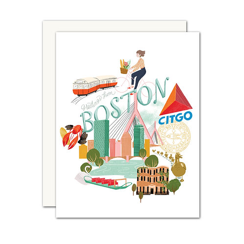 Greetings From Boston Card - Set of 6