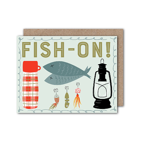 Fish-On - Father's Day   Dad Birthday   Fishing Card - Set of 6