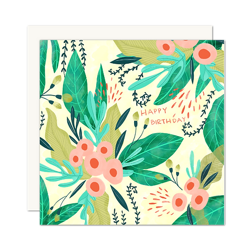Happy Birthday Tropical Floral Card