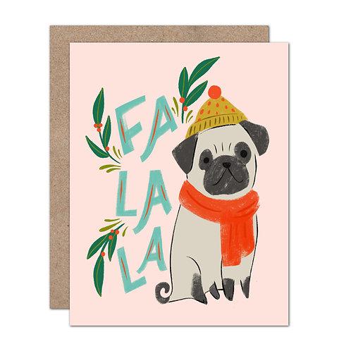 Fa La La Pug Holiday Card - Set of 6