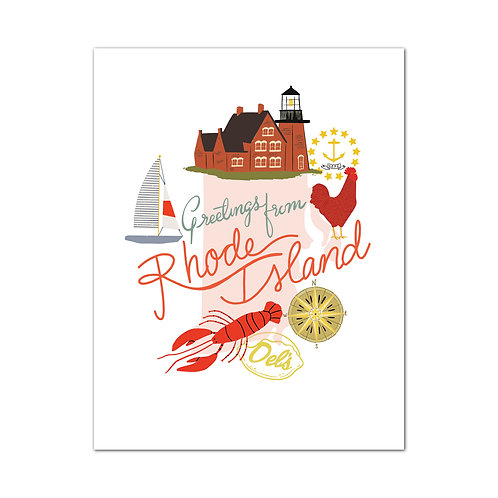 Greetings From Rhode Island Art Print