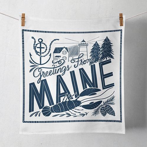 Greetings From Maine Flour Sack Tea Towel