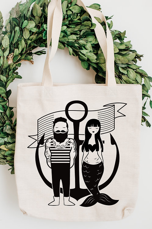 Sailor & Mermaid Canvas Tote