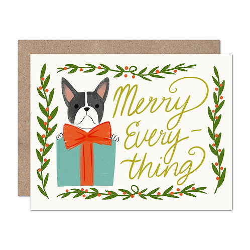 Merry Everything Frenchie Holiday Card - Set of 6