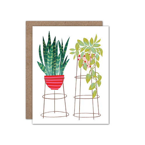 Tall Potted Plants Card - Set of 6