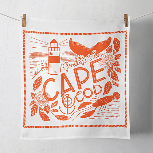Greetings From Cape Cod Flour Sack Tea Towel