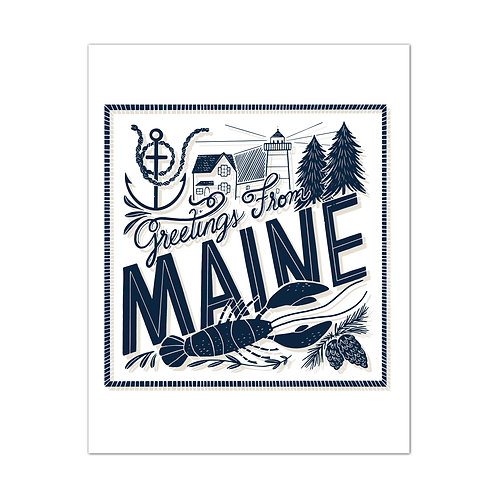 Greetings From Maine Navy Art Print