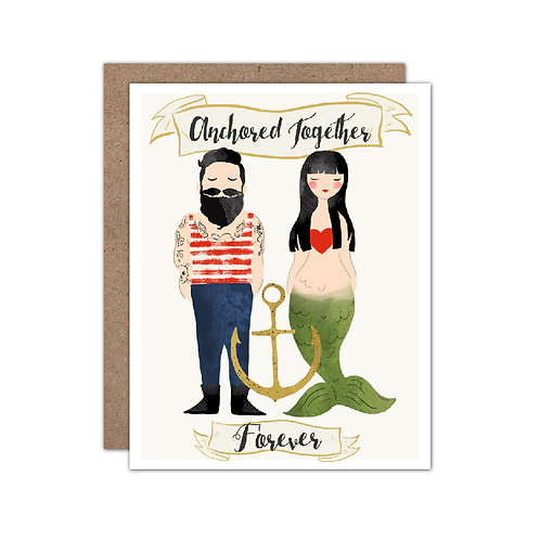 Anchored Together Forever | Mermaid & Sailor Card - Set of 6