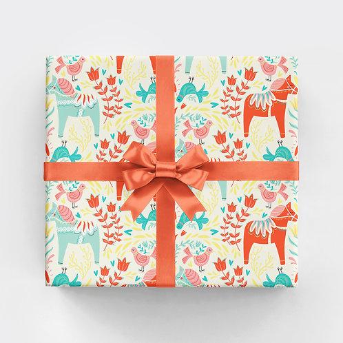 Swedish Dala Horse Gift Wrap - Multi