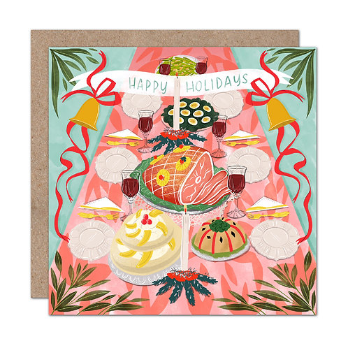 Kitschy Christmas Dinner Happy Holidays Card | Set of 6