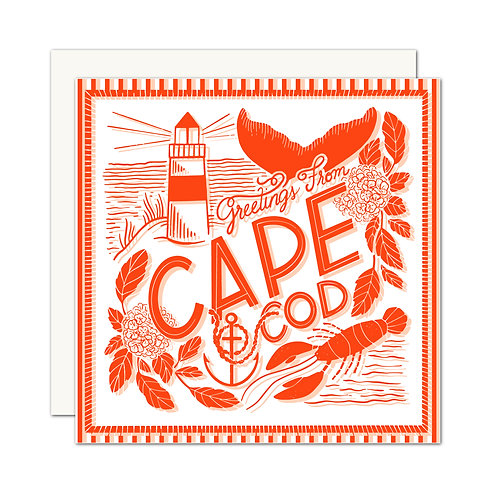 Greetings From Cape Cod Card Red - Set of 6 Cards