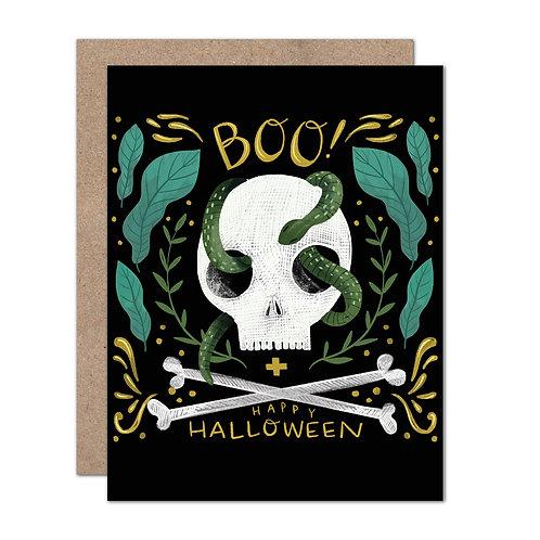 BOO! Skull + Snake Halloween Card - Set of 6