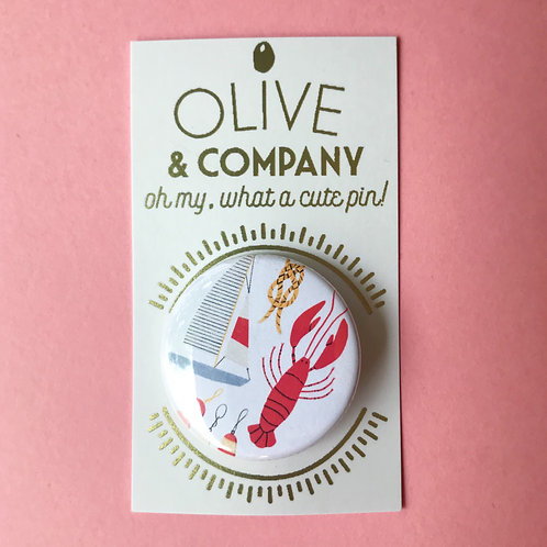 Nautical Lobster & Sailboat 1.5 Inch Pinback Button