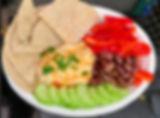 Mezza Plate: Smoke Hummus & Rye Pita w/ bell pepper, kalamata olives and cucumbers