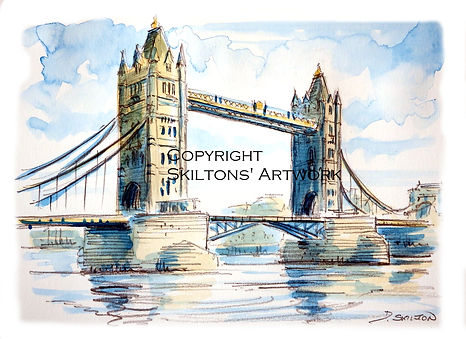 london tower bridge watercolour scaled c