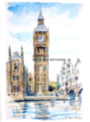 london Big ben watercolour from photo sc