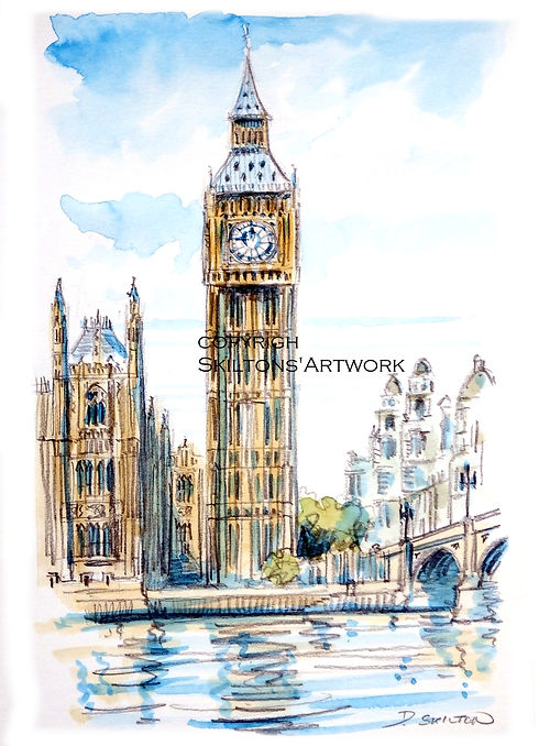 london Big ben watercolour from photo sc