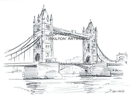 London Tower bridge pencil scaled down c