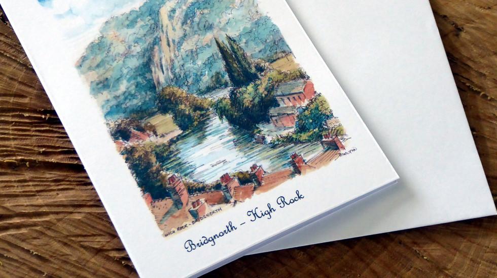 A card featuring a view Bridgnorth's High Rock