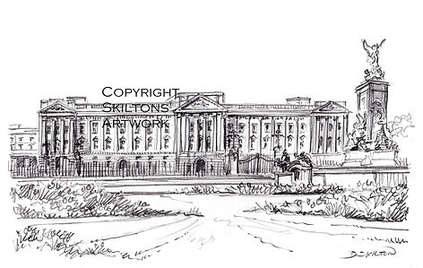 London Buckingham Palace pencil scaled d