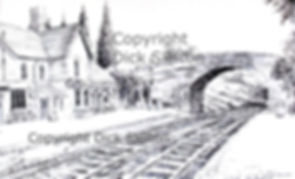 Arley station S V R pen drawing copyrigh