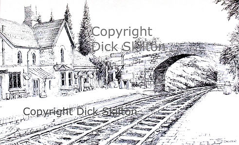 Arley station S V R pen drawing copyrigh