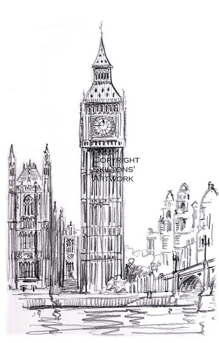 london big ben pencil scaled copyright j