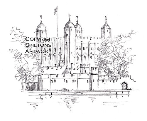 London Tower pencil scaled copyright jpe