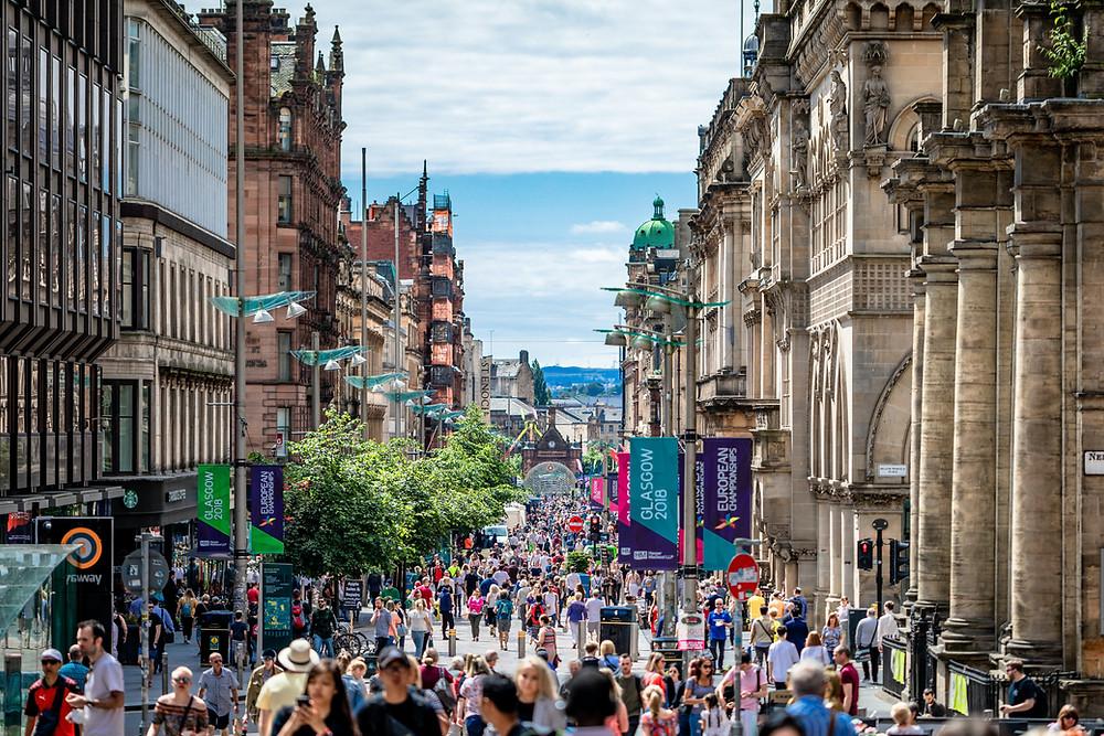 busy high street in Glasgow