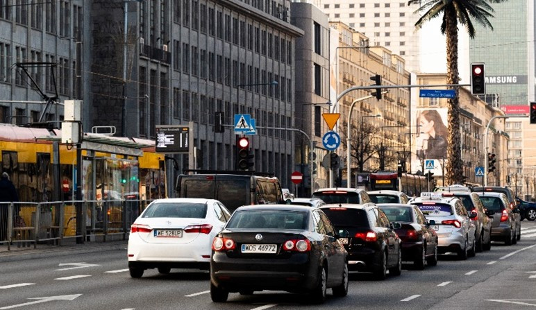 cars on a main road