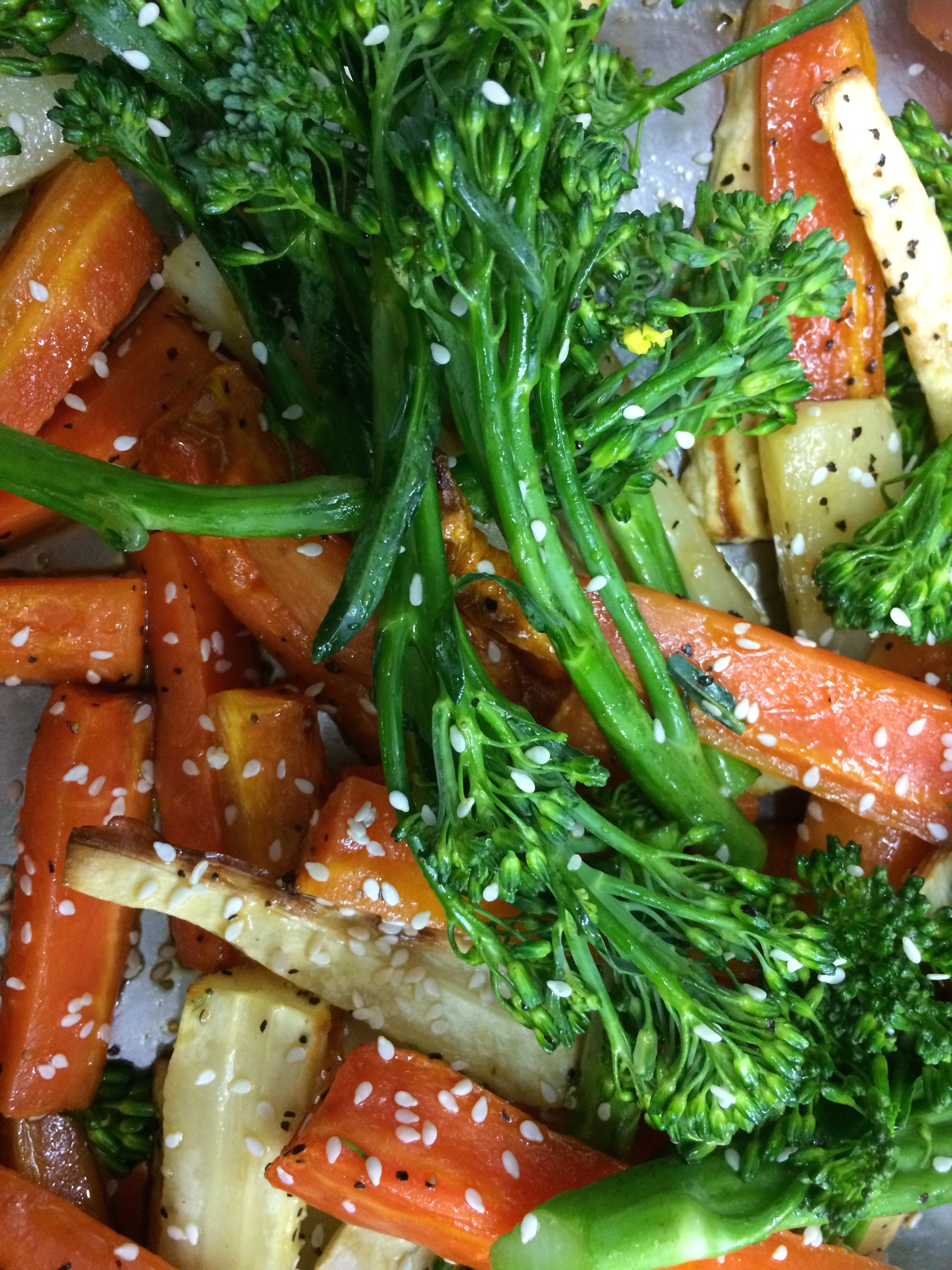 Roast Veg with Sesame-Miso Dressing