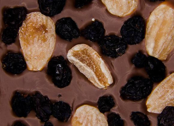 Tablette chocolat lait amandes raisins