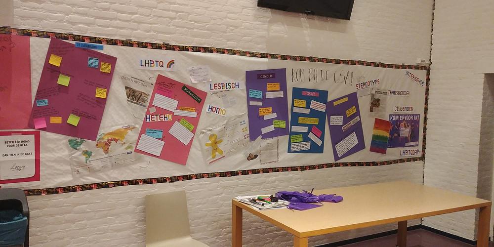 Tijdens de GSA-week hing er op het Zaanlands een speciale poster met lieve teksten van leerlingen aan de muur in de aula.
