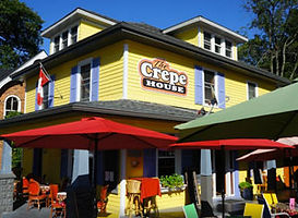 The outdoor patio view of The Crepe House in Port Dover.