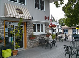 Side entrance to The Urban Parisian restaurant in Port Dover.