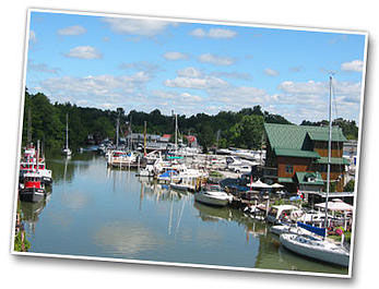 View of the the Lynn River in Port Dover from the lift bridge.