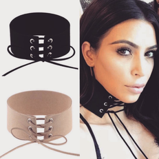 Where To Cop Kim's Lace-Up Choker Look