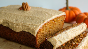 Spiced Sweet Potato Pecan Loaf with Vanilla Cashew Cream Icing