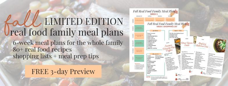 free sample fall meal plan