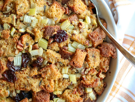 Thanksgiving Side: Gluten-free Cornbread Stuffing with Cherries and Pecans