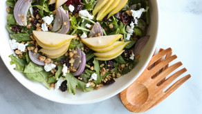 Thanksgiving Side: Pear and goat cheese salad with rosemary walnuts and maple balsamic vinaigrette