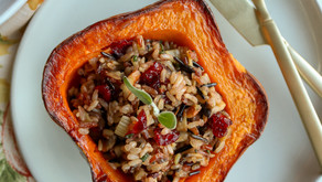 Plant-Based Thanksgiving Recipe: Wild Rice Stuffed Acorn Squash