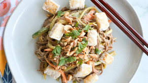 Sweet and Spicy Peanut Soba Noodle salad with oven-fried crispy tofu
